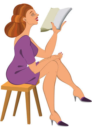Illustration of cartoon female character isolated on white. Cartoon woman in green dress reading.