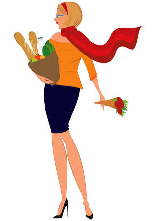 Illustration of cartoon female character isolated on white. Cartoon woman in red scarf with shopping bag and flowers.