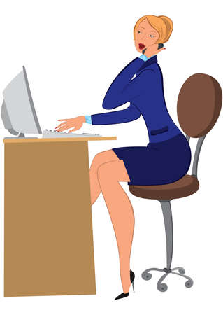 woman on phone: Illustration of cartoon female character isolated on white. Cartoon woman secretary talking on phone and typing.       Illustration