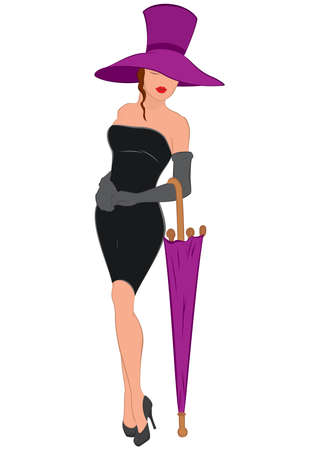 mini umbrella: Illustration of cartoon female character isolated on white. Cartoon young woman in mini black dress with umbrella and hat.
