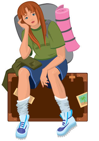 Illustration of cartoon female character isolated on white. Cartoon young woman sitting on brown suitcase with backpack.