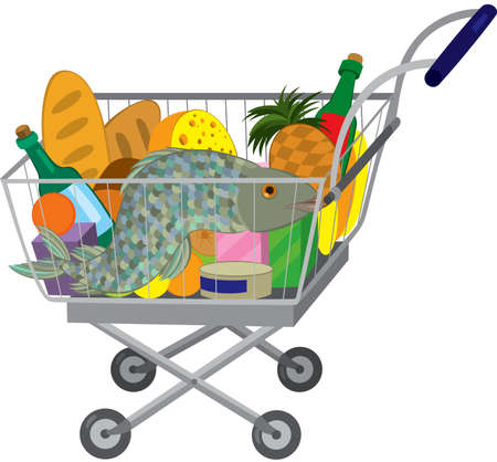 Illustration of cartoon shopping cart full of groceries isolated on white. Grocery store shopping cart with food items and fish.