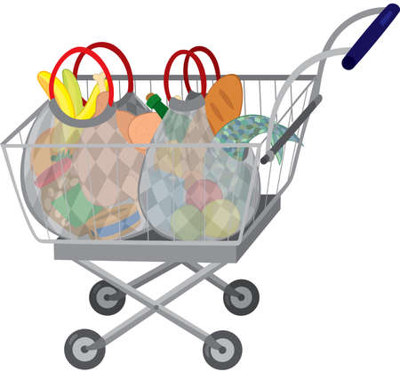 Illustration of cartoon shopping cart full of groceries isolated on white. Grocery store shopping cart with full bags.  Illustration