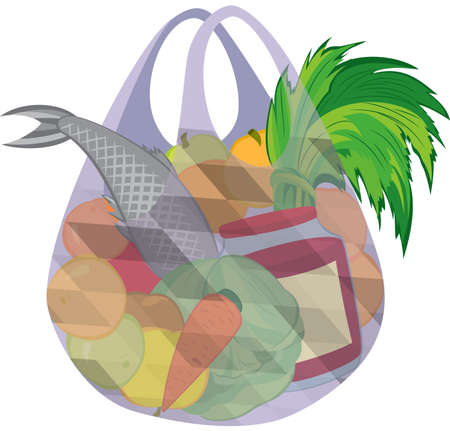 Illustration of cartoon shopping bag full of groceries isolated on white. Plastic transparent shopping bag full of fruits vegetables and fish.