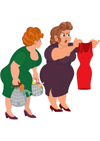 Illustration of cartoon characters isolated on white. Two fat cartoon women looking on small red dress.