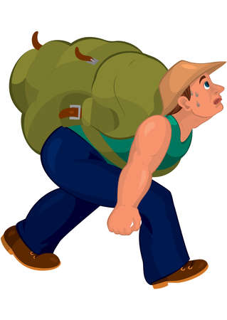 Illustration of Cartoon man in blue pants with heavy backpack isolated on white      Illustration
