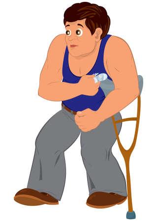 歩く青いノースリーブ トップ漫画男のイラスト負傷に分離ホワイト