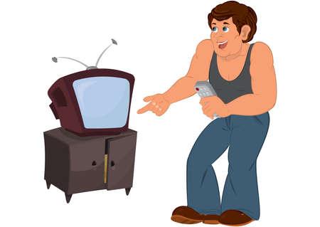 Illustration of Cartoon man in gray sleeveless top standing near old TV isolated on white     Ilustração
