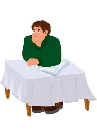 Illustration of Cartoon man in green sweater torso holding chin at the table.