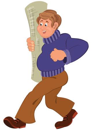 カーペット ロール笑みを浮かべて歩いての紫のセーターの漫画男のイラスト。  イラスト・ベクター素材