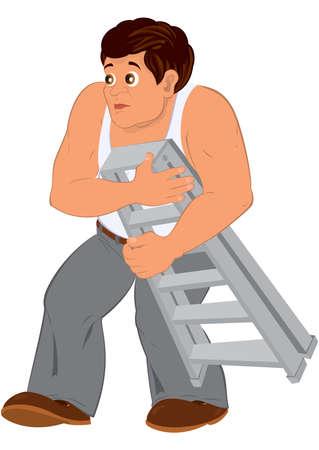Illustration of Cartoon man in white sleeveless top holding small ladder.  Ilustração