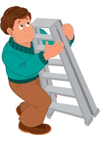 茶髪: はしごを保持しているグリーンのセーターに茶色の髪を持つ漫画男のイラスト。  イラスト・ベクター素材