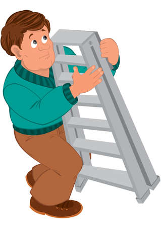 Illustration of Cartoon man with brown hair in green sweater holding ladder.       일러스트