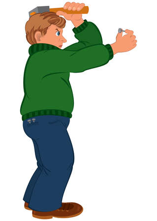 茶髪: 白で隔離の漫画の男性キャラクターのイラスト。ハマーとグリーンのセーターに茶色の髪の男は漫画。