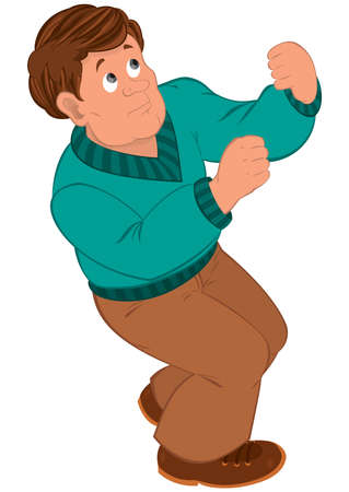 Illustration of Cartoon man with brown hair in green sweater.