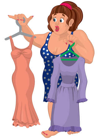 Illustration of Cartoon overweight young woman holding dresses.