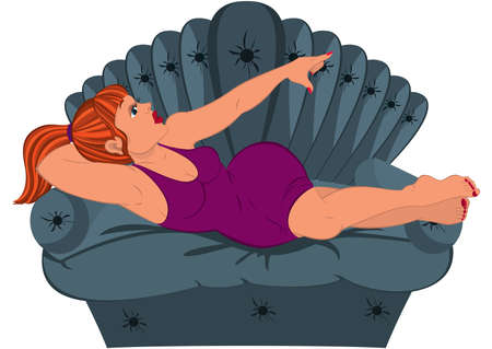 lying in: Illustration of Cartoon woman in purple dress lying on the couch.