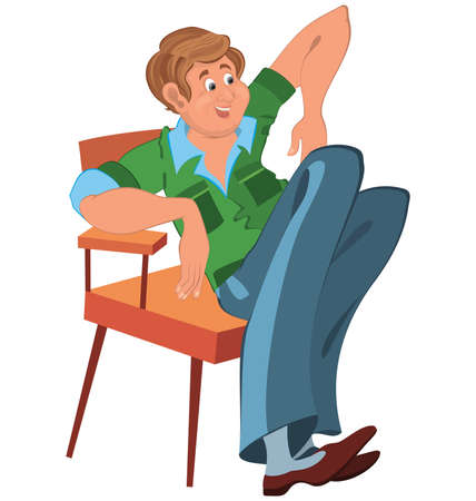 Illustration of cartoon male character isolated on white. Happy cartoon man sitting in armchair in green west and blue pants.