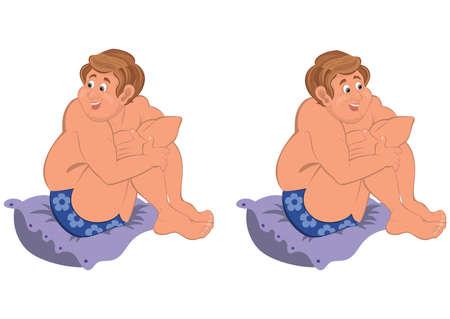 mann unterw�sche: Illustration von zwei Cartoon m�nnlichen Zeichen auf wei� isoliert. Happy Cartoon Mann sitzt auf einem Kissen in der blauen Unterw�sche.