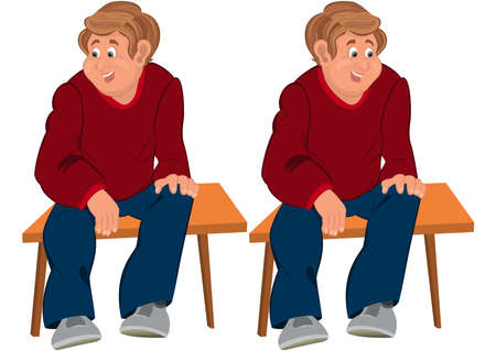 Illustration of two cartoon male characters isolated on white. Happy cartoon man sitting on brown bench. Illustration