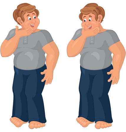 nice guy: Illustration of two cartoon male characters isolated on white. Happy cartoon man standing in blue pants barefoot.  Illustration