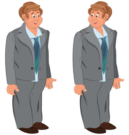 gray suit: Illustration of two cartoon male characters isolated on white. Happy cartoon man standing in gray suit and green tie.