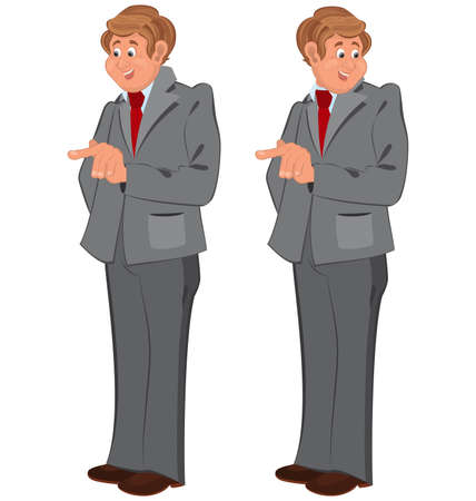 gray suit: Illustration of two cartoon male characters isolated on white. Happy cartoon man standing in gray suit.  Illustration