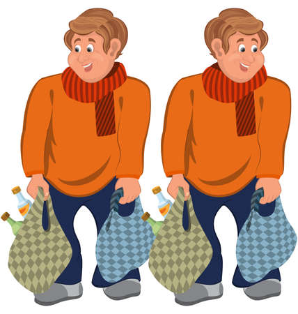Illustration of two cartoon male characters isolated on white. Happy cartoon man standing in orange sweater with grocery bags.