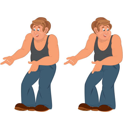 sleeveless: Illustration of two cartoon male characters isolated on white. Happy cartoon man standing in sleeveless top and pointing.