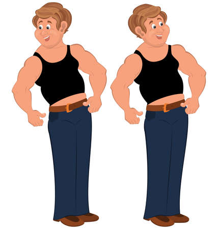 sleeveless: Illustration of two cartoon male characters isolated on white. Happy cartoon man standing in sleeveless top.