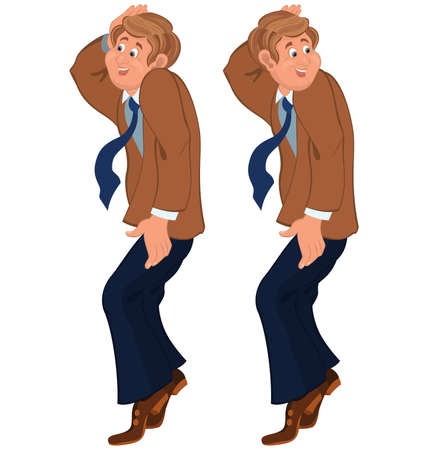 tiptoe: Illustration of two cartoon male characters isolated on white. Happy cartoon man standing on tiptoe in brown jacket and tie.