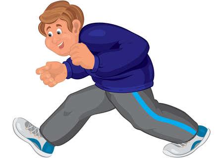 Illustratie van cartoon mannelijke karakter geïsoleerd op wit. Gelukkig cartoon man lopen in loopschoenen.