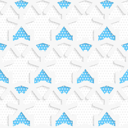 Seamless abstract background of white 3d shapes with realistic shadow and cut out of paper effect. Blue 3d shapes layered with blue pattern.