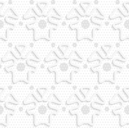 Seamless abstract background of white 3d shapes with realistic shadow and cut out of paper effect. Blue 3d shapes on textured gray big and small dot pattern.