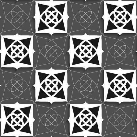 tile pattern: Seamless abstract background of white 3d shapes with realistic shadow and cut out of paper effect. Geometrical Arabian ornament black and white with slim wire.