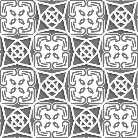 Seamless abstract background of white 3d shapes with realistic shadow and cut out of paper effect. Geometrical Arabian ornament with gray and white.