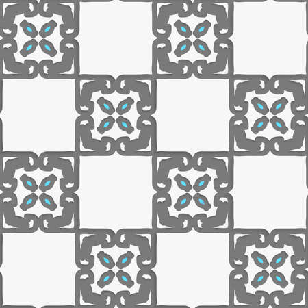 Seamless abstract background of white 3d shapes with realistic shadow and cut out of paper effect. Geometrical Arabian ornament with white and blue. Ilustração