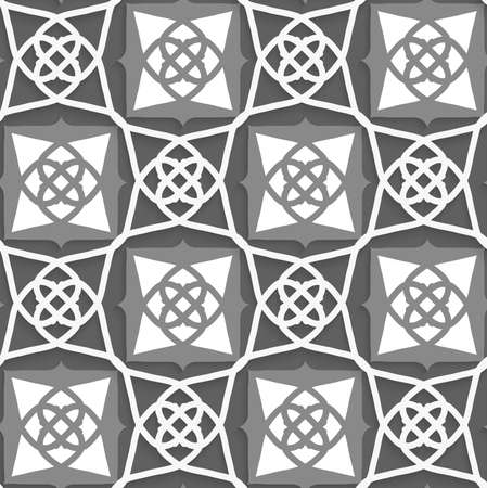 grays: Seamless abstract background of white 3d shapes with realistic shadow and cut out of paper effect. Geometrical Arabian ornament with white and grays.