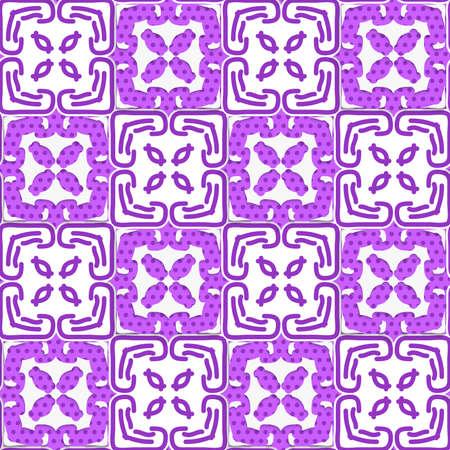 Seamless abstract background of white 3d shapes with realistic shadow and cut out of paper effect. Geometrical deep purple ornament with texture.