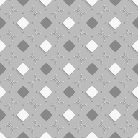 perforated: Seamless abstract background of white 3d shapes with realistic shadow and cut out of paper effect. Geometrical ornament with gray and white squares on gray. Illustration