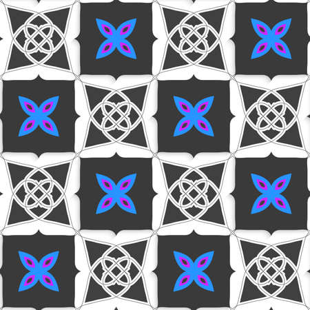 perforated: Seamless abstract background of white 3d shapes with realistic shadow and cut out of paper effect. Geometrical ornament with gray squares and blue flower.