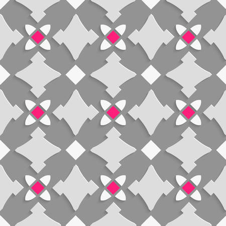 perforated: Seamless abstract background of white 3d shapes with realistic shadow and cut out of paper effect. Geometrical ornament with shades of gray and pink squares. Illustration