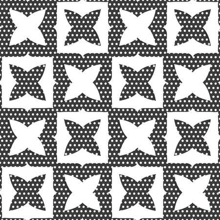 , Meetkunde, geometrisch, vorm, Naadloze abstracte achtergrond van witte 3D-vormen met realistische schaduw en uit papier geknipt effect. Geometrische ornament met witte vormen en gestippelde textuur.