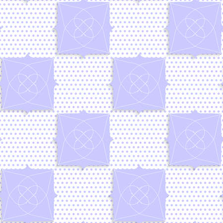 perforated: Seamless abstract background of white 3d shapes with realistic shadow and cut out of paper effect. Geometrical purple ornament with texture.