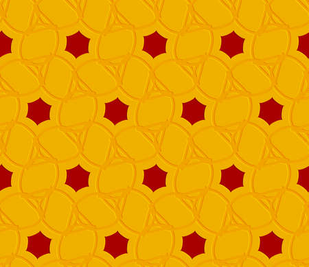 Seamless abstract background. Orange embossed ornament with red hexagons.