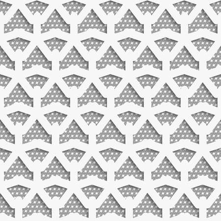perforated: Seamless abstract background of white 3d shapes with realistic shadow and cut out of paper effect. White 3d net on textured white and gray pattern. Illustration