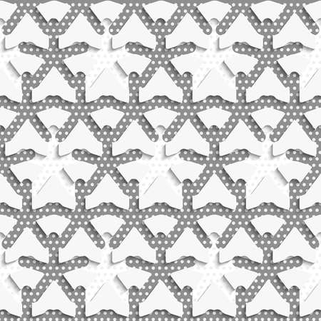perforated: Seamless abstract background of white 3d shapes with realistic shadow and cut out of paper effect. White 3d shapes on textured white and gray pattern.