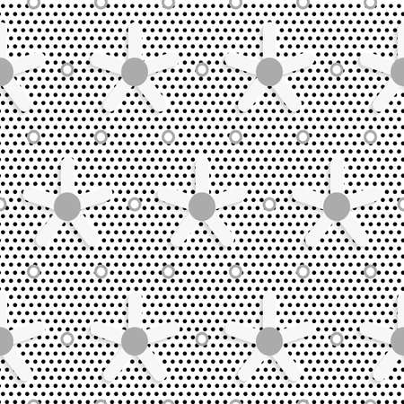 perforated: Seamless abstract background of white 3d shapes with realistic shadow and cut out of paper effect. White daisy flower on black dots textured pattern.