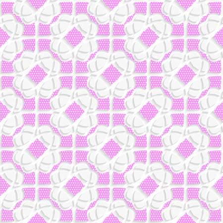 Seamless abstract background of white 3d shapes with realistic shadow and cut out of paper effect. White geometrical ornament textured with pink. Ilustração
