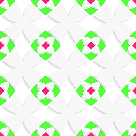 Seamless abstract background of white 3d shapes with realistic shadow and cut out of paper effect. White geometrical ornament with green and pink.